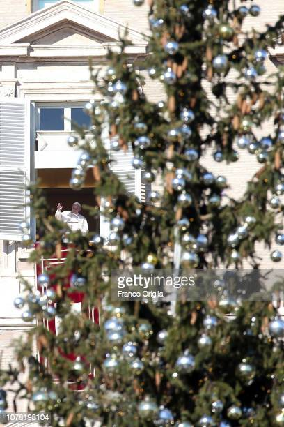 Pope Francis framed by the Christmas tree delivers his Angelus blessing from the window of his private studio to pilgrims gathered in Saint Peter's...