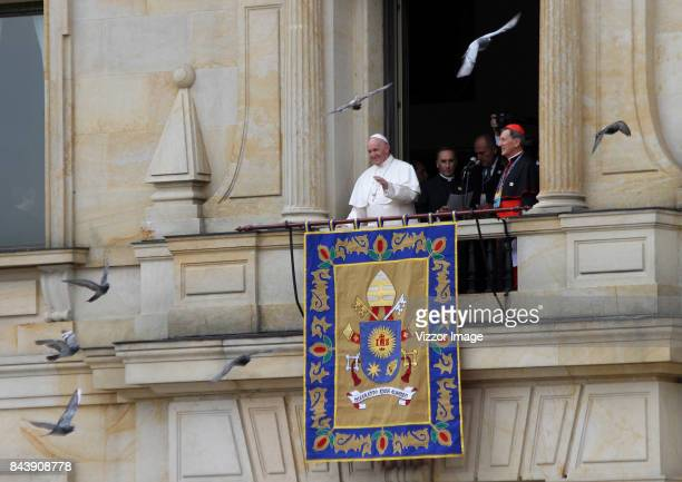 Pope Francis gives a blessing from the Cardinal's Palace at Simon Bolivar park as part of his apostolic 5day visit to Colombia on September 07 2017...