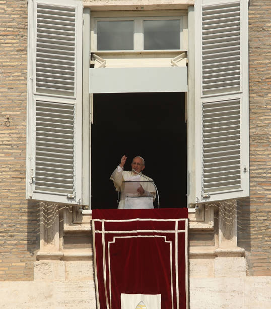 Pope Francis Gives A Short Sch Followed By The Angelus From Window Of His Apartment