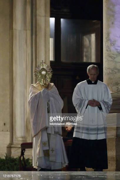 Pope Francis gives a special Urbi et Orbi blessing during the moment of prayer on the sagrato of St Peter's Basilica to invoke the end of the...