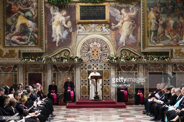 Pope Francis gives State Of The World Address to accredited ambassadors to the Holy See at the Sala Regia on January 8 2018 in Vatican City Vatican