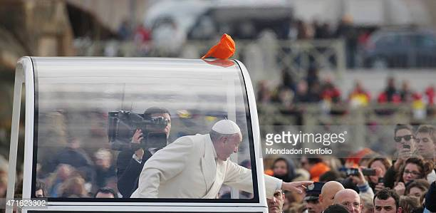 'Pope Francis giving a large audience on Saint Peter's Square Vatican City 2014 '