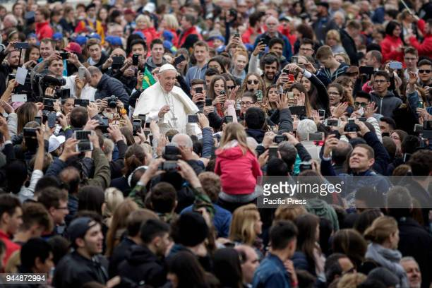 S SQUARE VATICAN CITY VATICAN Pope Francis greet the audience during the Weekly General Audience in St Peter's Square
