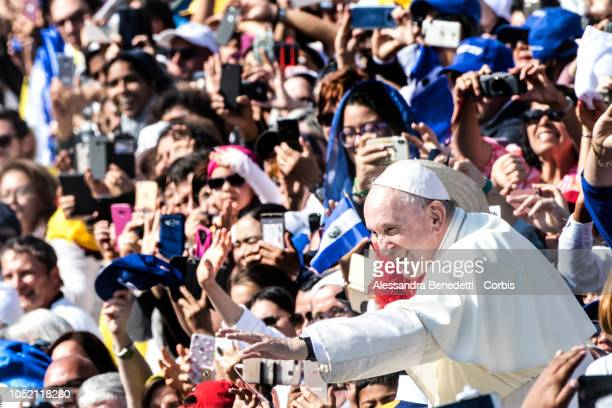 Pope Francis greet the faithfuls at the end of the canonisation ceremony of seven new Saints including Pope Paul VI and Archbishop Oscar Romero at...