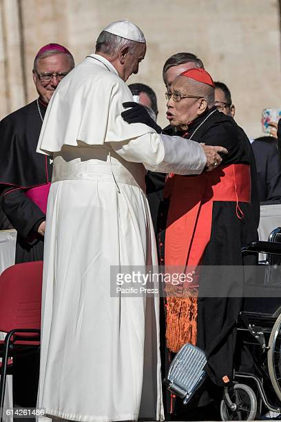S SQUARE VATICAN CITY VATICAN Pope Francis greets a cardinal at the end of his Weekly General Audience in St Peter's Square Addressing pilgrims and...