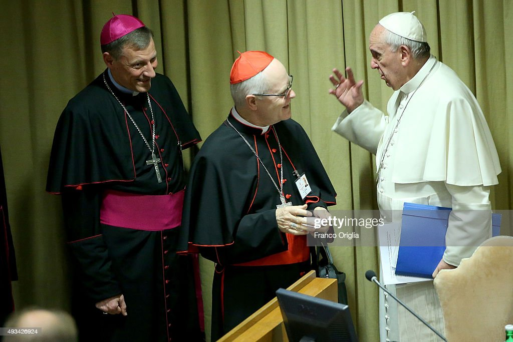 Pope Francis greets cardinal Odilo Pedro Scherer as he arrives at the Synod Hall for a session of Synod on The Themes Of Family on October 20, 2015 in Vatican City, Vatican. The Synod of Bishops on the family moves into its third and final week. Over the first two weeks the Church leaders have been seeking to resolve tensions between the different visions of family life and ministry.