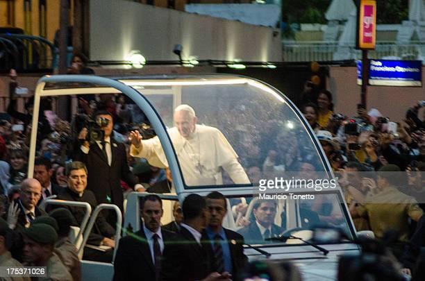 CONTENT] Pope Francis greets Catholics in Copacabana beach Rio de Janeiro Brazil