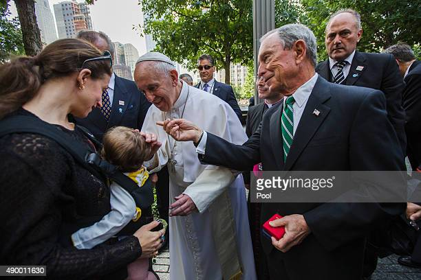Pope Francis greets Emma Bloomberg and her daughter Zelda as former New York City Mayor Michael Bloomberg looks on during a visit to the 9/11...