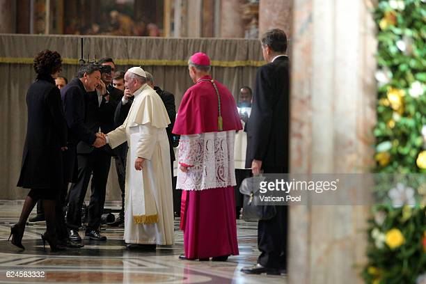 Pope Francis greets Italian Prime Minister Matteo Renzi and his wife Agnese Renzi during the closing of the Jubilee of Mercy in St Peter's Basilica...