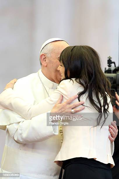 Pope Francis greets Italian TV conductor Lorena Bianchetti during the celebration of Pentecost Vigil with lay Ecclesial movements in St Peter's...