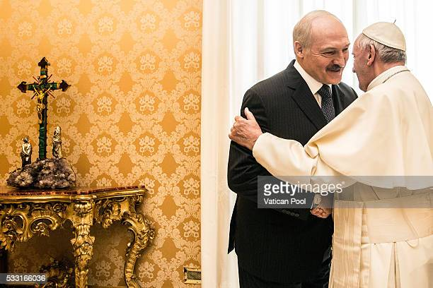 Pope Francis greets President of Belarus Alexander Lukashenko during a private audience at the Apostolic Palace on May 21 2016 in Vatican City Vatican