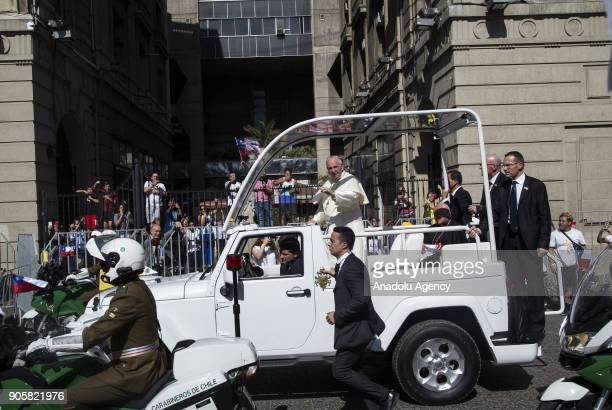 Pope Francis greets the crowd during his visit to Santiago Chile on January 16 2018