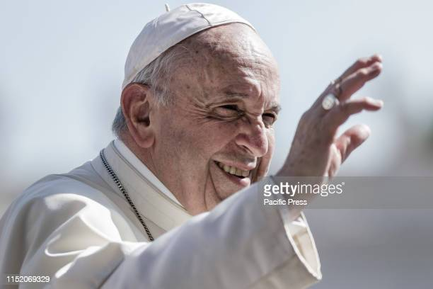 Pope Francis greets the crowd during the weekly General Audience in St. Peter's Square. The General Audience is held every Wednesday, when the Pope...