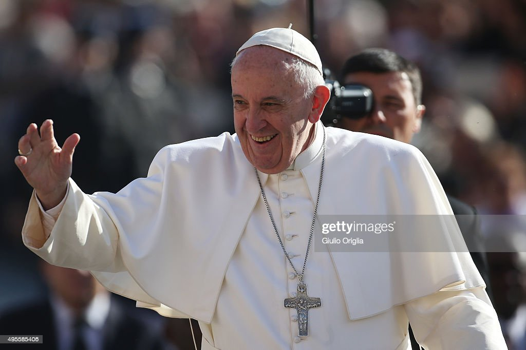 Pope Francis greets the faithful as he holds his weekly audience in St. Peter's Square at The Vatican on November 4, 2015 in Vatican City, Vatican. In his catechisis, he continued to reflect on the importance of family as a place where we learn the values of forgiveness and reconciliation.