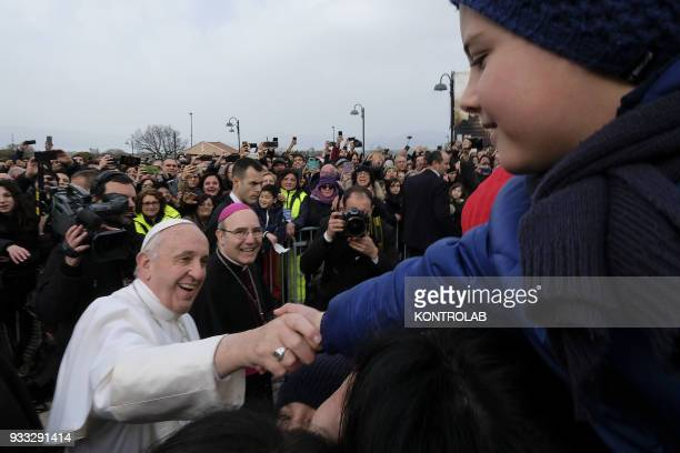 PIETRELCINA CAMPANIA ITALY Pope Francis greets the faithful during his one hour visit in Pietrelcina the birthplace of San Pio After Pietrelcina Pope...