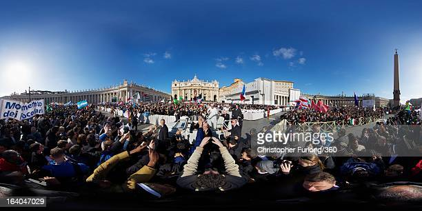 Pope Francis greets the faithful during the Inauguration Mass for Pope Francis in St Peter's Square on March 19 2013 in Vatican City Vatican The mass...