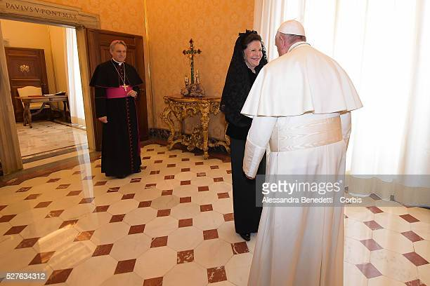 Pope Francis held an audience to receive Queen Silvia Princess Madeleine and husband Christopher O'Neill and the little Princess Leonore of Sweden at...