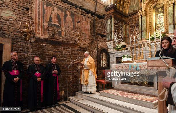 Pope Francis holds a celebration during a visit to the Marian Shrine of Loreto near Ancona in the Marche region on March 25 as Prefect of the Papal...