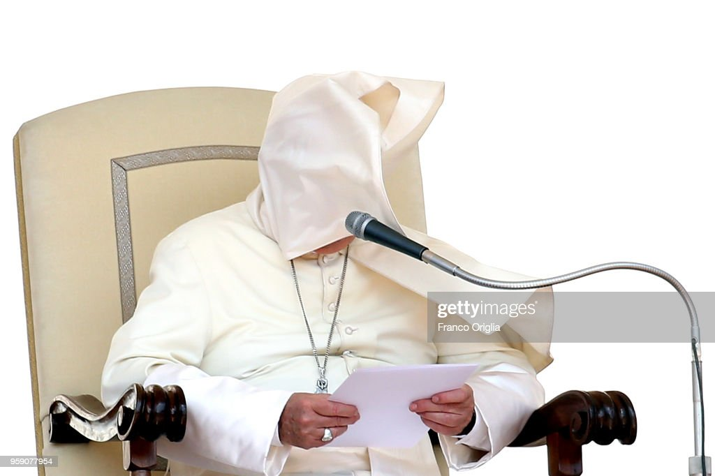 Pope Francis holds his homily as a gust of wind catches his mantle during his weekly audience in St. Peter's square on May 16, 2018 in Vatican City, Vatican. Addressing pilgrims in St Peter's Square for the weekly Wednesday General Audience, Pope Francis made an appeal for peace in the Holy Land, Middle East.