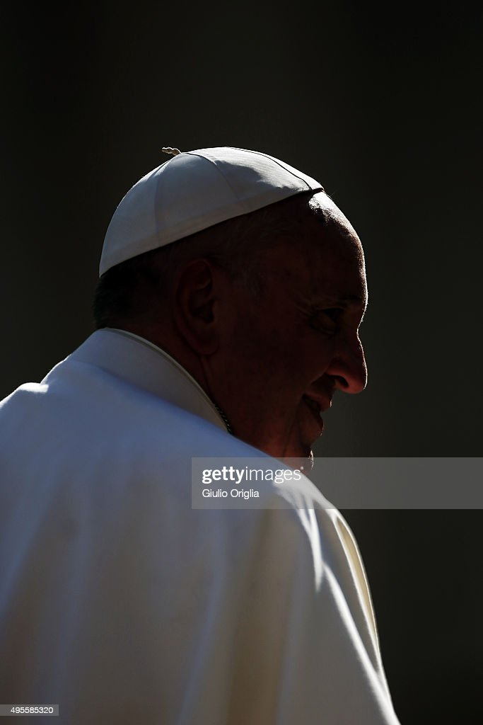 Pope Francis holds his weekly audience in St. Peter's Square at The Vatican on November 4, 2015 in Vatican City, Vatican. In his catechisis, he continued to reflect on the importance of family as a place where we learn the values of forgiveness and reconciliation.