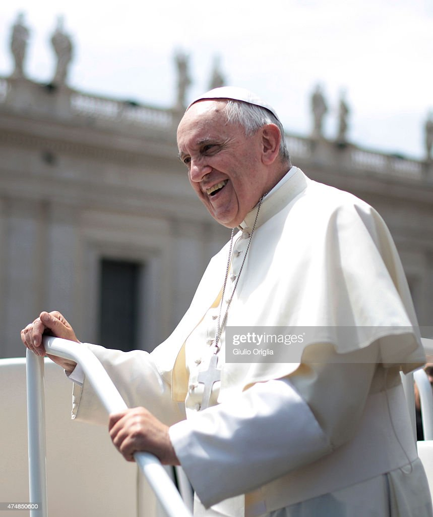 Pope Francis holds his weekly audience in St. Peter's Square on May 27, 2015 in Vatican City, Vatican. During his speech the Pontiff spoke to couples who are engaged to be married and told them not to be superficial as they prepare to enter into a life-long covenant of love.