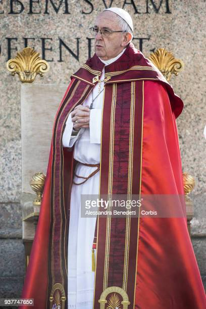 Pope Francis holds Palm Sunday Mass in St Peter's Square on March 25 2018 in Vatican City Vatican