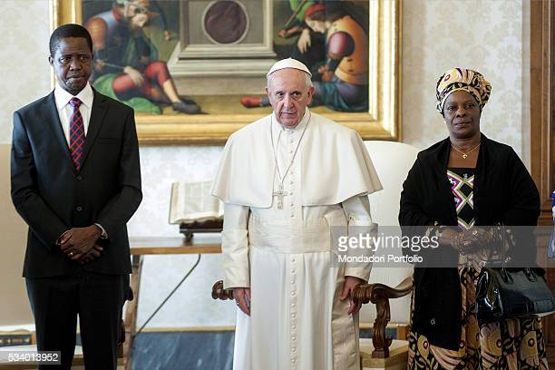 Pope Francis in private audience with the President of the Republic of Zambia Edgar Lungu and his wife Esther Lungu in the Private Library of the...