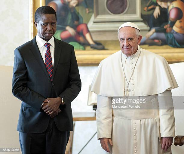 Pope Francis in private audience with the President of the Republic of Zambia Edgar Lungu in the Private Library of the Apostolic Palace Vatican City...