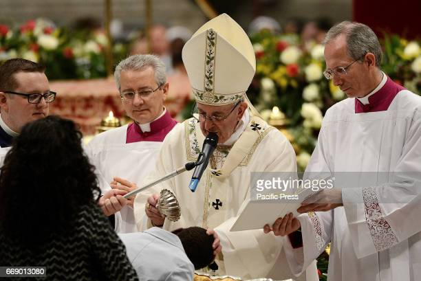 Pope Francis in St Peter's Basilica celebrated the vigil that precedes Easter The ritual began in the atrium of the basilica with the blessing of...