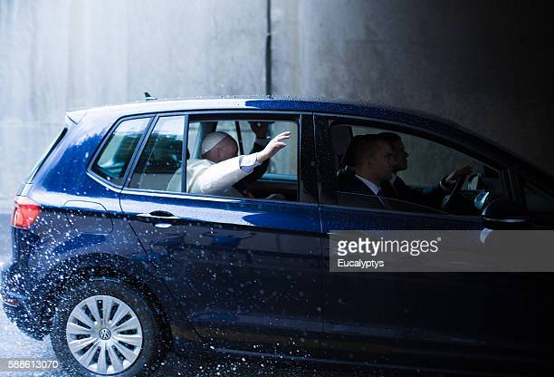 Pope Francis in the car