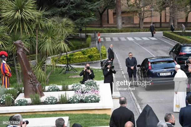 Pope Francis inaugurates the St Gregory of Narek Statue at the Vatican Gardens on April 5 2018 in Vatican City Vatican The inauguration of the...
