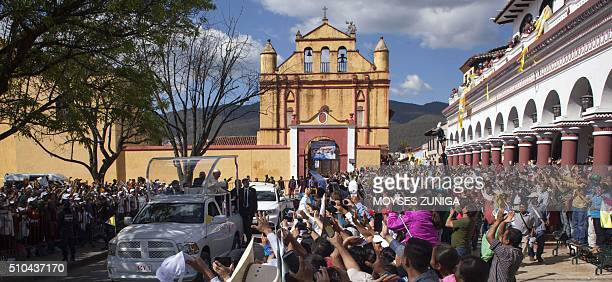 Pope Francis is greeted by the crowd after visiting the main cathedral of San Cristobal de Las Casas Chiapas State Mexico on February 15 2016...