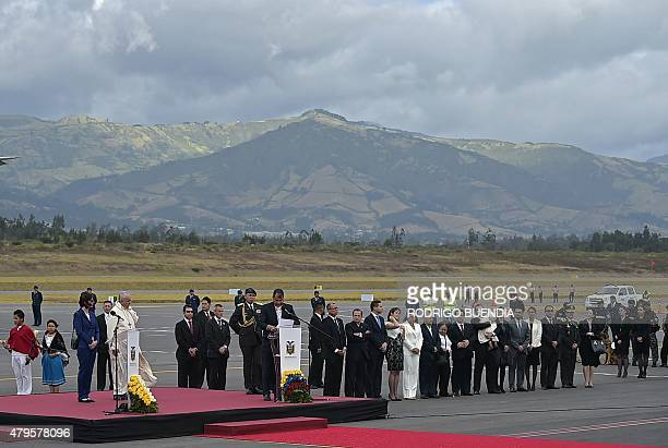 Pope Francis is welcomed as he arrives at the Mariscal Sucre international airport in Quito on July 5 2015 Pope Francis arrived in Quito Sunday to...