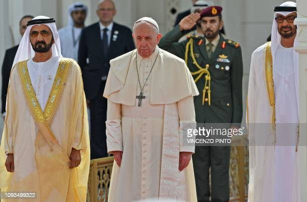 Pope Francis is welcomed by Dubai ruler Sheikh Mohammed bin Rashid AlMaktoum and Abu Dhabi's Crown Prince Mohammed bin Zayed alNahyan upon his...