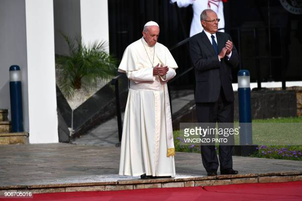 Pope Francis is welcomed to Peru by President Pedro Pablo Kuczynski shortly after landing at an air force base in Lima on January 18 2018 Pope...