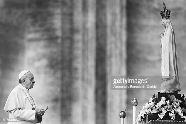 Pope Francis leads a Marian Prayer in honour of the Statue of St Mary of Fatima in St Peter's Square at the VaticanThousands of pilgrims were in...