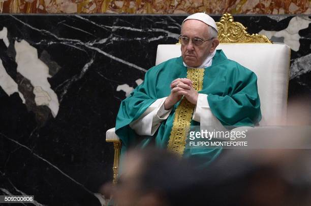 Pope Francis leads a mass for the Capuchin monks on February 9 2016 at St Peter's basilica in Vatican where the embalmed corpses of two Catholic...