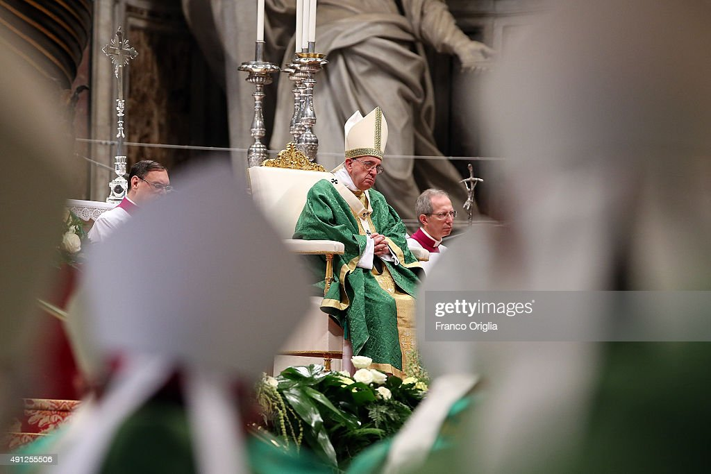 Pope Francis leads a mass for the opening of the Synod on the themes of family at St. Peter's Basilica on October 4, 2015 in Vatican City, Vatican. The director of the Holy See press office Father Federico Lombardi on Saturday reacting to revelations by a high-ranking Vatican official that he is in a gay relationship said 'the decision to make such a pointed statement on the eve of the opening of the Synod appears very serious and irresponsible, since it aims to subject the Synod assembly to undue media pressure'.