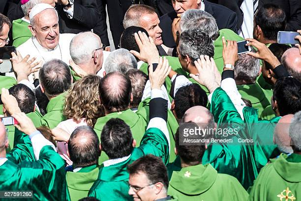 Pope Francis leads a Mass in honour of the Statue of St Mary of Fatima in St Peter's Square at the VaticanThousands of pilgrims were in Saint Peter's...