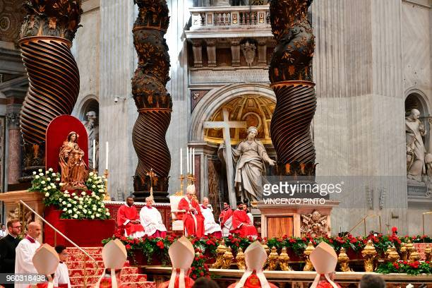 Pope Francis leads a Pentecost mass on May 20 2018 at St Peter's basilica in Vatican
