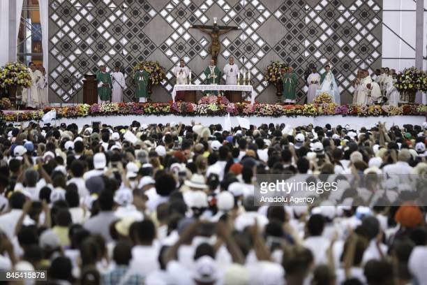 Pope Francis leads a religious mass during his visit in Cartagena Colombia on 10 September 2017 The Pope is in Cartagena as part of his fiveday visit...