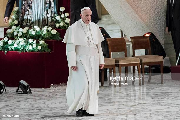 Pope Francis leads an audience with religious nuns and priests for the conclusion of the Year of Consecrated Life at Paul VI hall at the Vatican