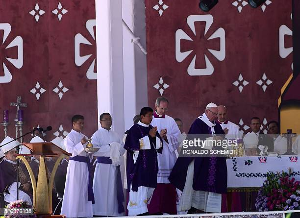 Pope Francis leads an openair mass in San Cristobal de las Casas in Chiapas on February 15 2016 Thousands of indigenous Mexicans flocked on Monday to...