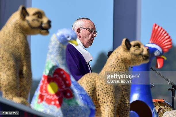 Pope Francis leads an openair mass in San Cristobal de las Casas in Chiapas Mexico on February 15 2016 Pope Francis is in Mexico for a trip...