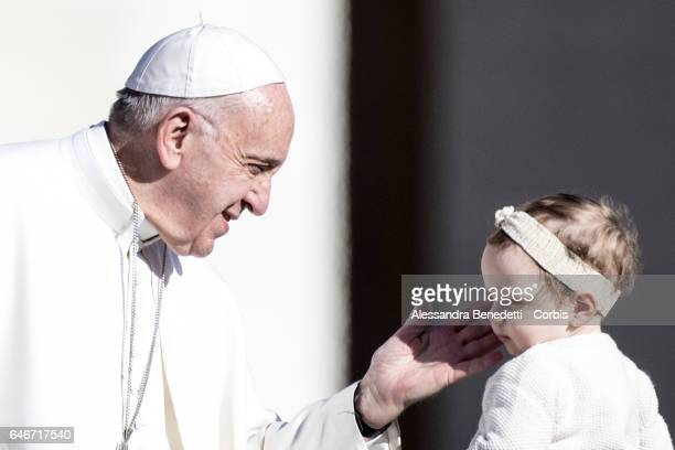 Pope Francis leads his general weekly audience in St Peter's Square at the Vatican on March 1 2017 in Vatican City Vatican