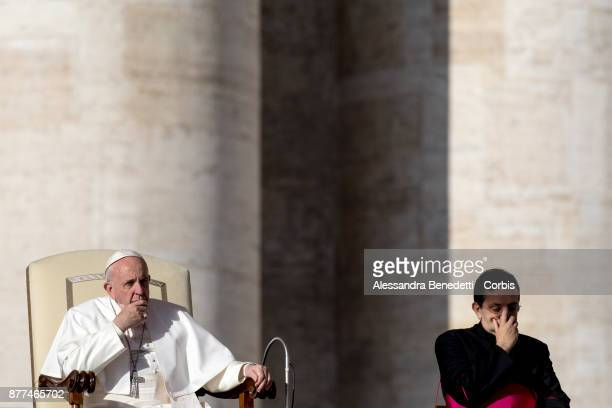 Pope Francis leads his general weekly audience in St Peterâs Square at the Vatican on November 22 2017 in Vatican City Vatican