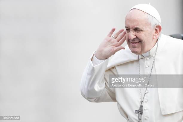 Pope Francis leads his general weekly audience in St Peter's Square at the Vatican on March 28 2018 in Vatican City Vatican