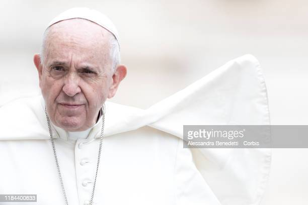 Pope Francis leads his general weekly audience in St Peter's Square on October 30 2019 in Vatican City Vatican