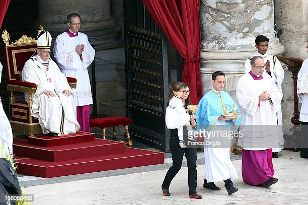 Pope Francis leads holy mass for Confraternities on May 5 2013 in Vatican City Vatican The Pope celebrated mass for the confraternities as part of...