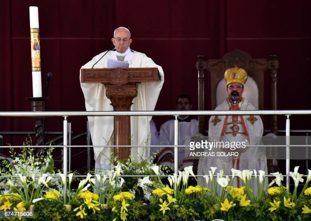 Pope Francis leads mass on April 29 2017 at a stadium in the Egyptian capital Cairo Pope Francis led a jubilant mass for thousands of Egyptian...